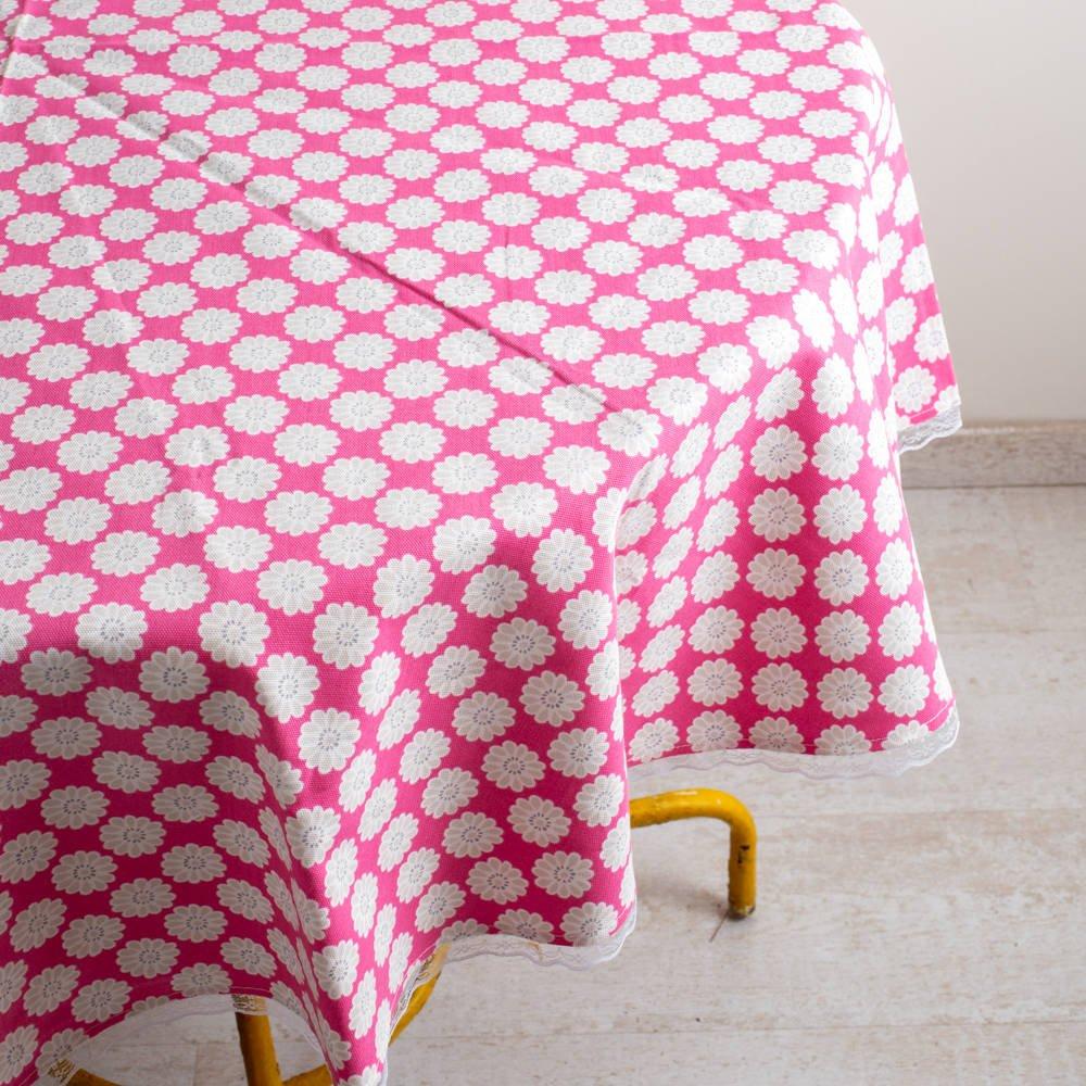 מפת שולחן עגולה מבד קנבס בצבע ורוד